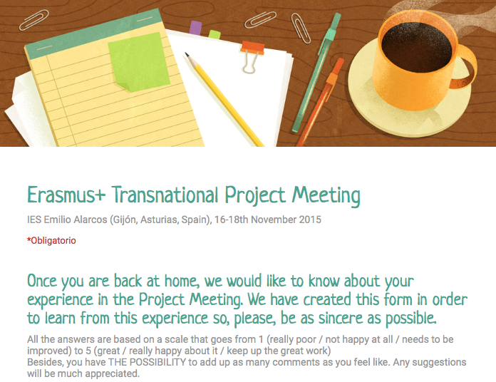 Transnational Project Meeting, Form